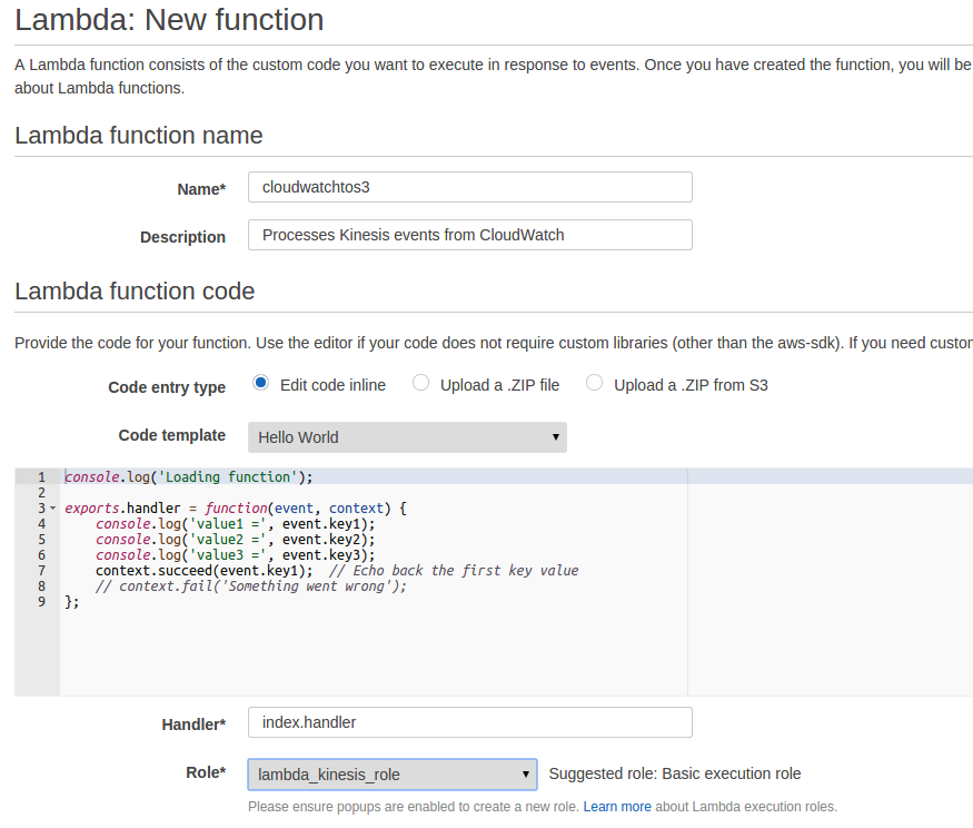 Automatically Exporting Cloudwatch Logs to S3 with Kinesis